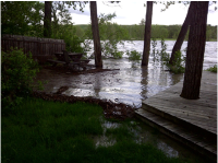 Our back yard at 7:00 pm Jun 20th, Thursday—Today the water has moved to the street, engulfing the homes on our street.